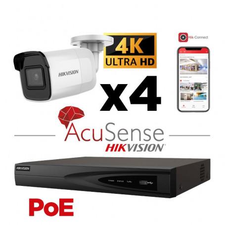 Kit vidéosurveillance AcuSense 4K H265+ PoE 4 caméras IP mini-tube IR 40 mètres