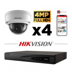 Kit vidéosurveillance 4 caméras IP dôme full HD+ 4MP H265+