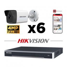 Kit vidéosurveillance 6 caméras IP tube ultra HD 4MP