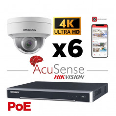 Kit vidéosurveillance AcuSense 6 caméras 4K H265+ vision de nuit IR 30 mètres